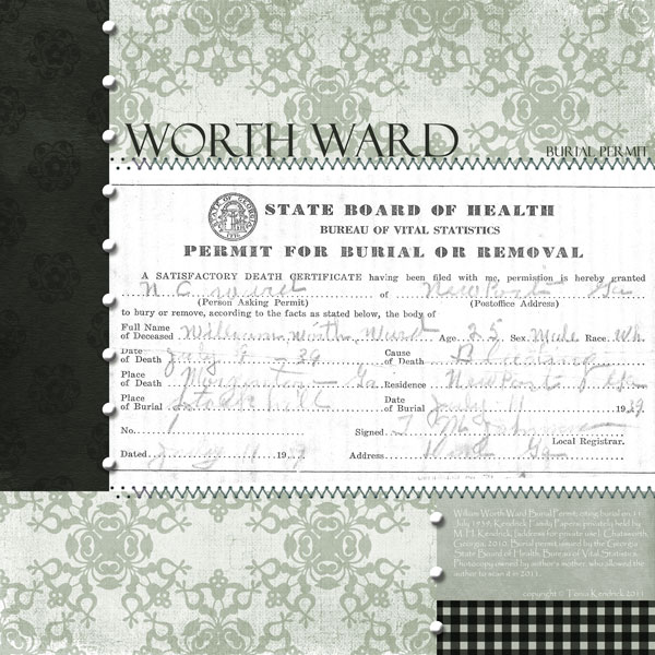 Worth Ward Burial Permit