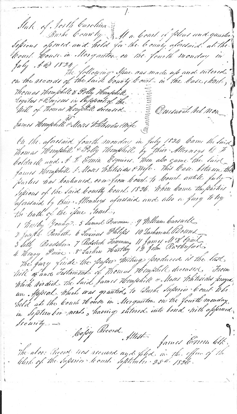 Burke County Original Wills, Thomas Hemphill (c1824); box no. C.R. 016.801.1, North Carolina State Archives, Raleigh.