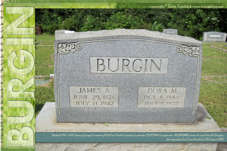 James and Dora Burgin headstone